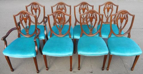Set of Eight Mahogany Hepplewhite Style Dining Chairs